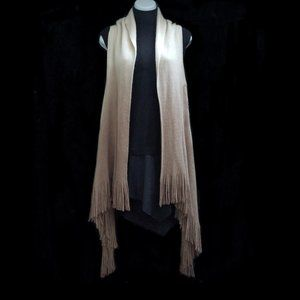 Stylish Fringed Vest Scarf - Ombre Ivory/Tan #3349
